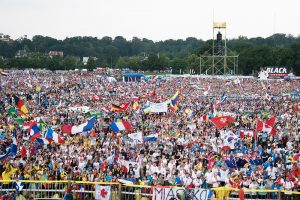 Nationalities from all over the world were in attendance at the opening Mass of World Youth Day. (Photo by Stanislaw Wasiutynski/World Youth Day Krakow 2016 via Flickr)
